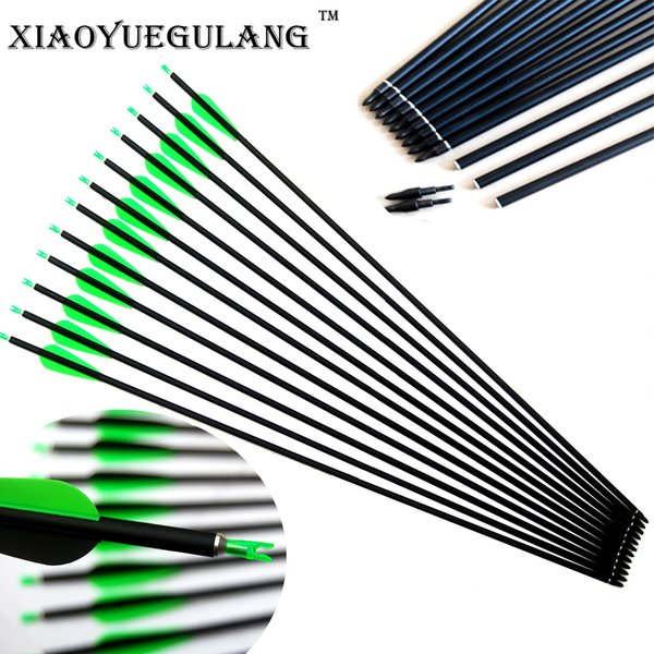 Pure Carbon Arrows Archery replace Arrowhead For Shooting and Hunting Bow 3 Inch plastic Feather 30 Inch Shaft Spine 340