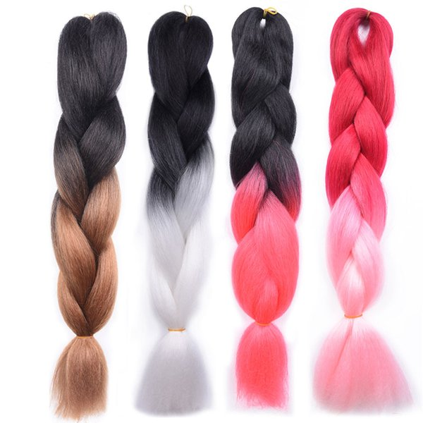 Afro Jumbo Braiding Hair Extensions Ombre Two Tone Synthetic Braiding Hair 24 inch 100g/Pack Jumbo Braids Synthetic Hair