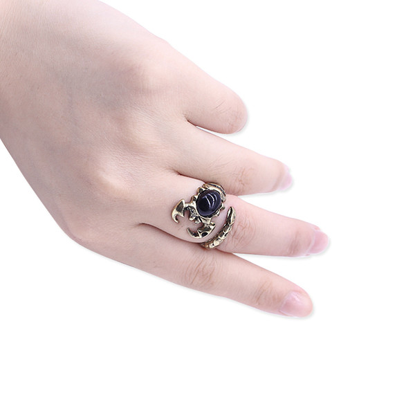 Punk Animal Ring Men Jewelry Gothic Black Rhinestone Scorpions Anillos ajustables para mujeres Steampunk Hip Hop Regalos Envío de la gota