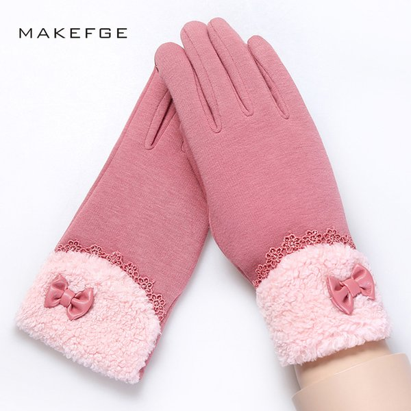 Women's solid color gloves autumn and winter warm and comfortable plus velvet thick ski gloves elegant woman men women male