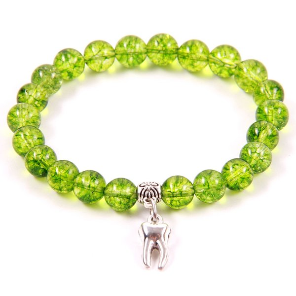 NCRHGL Hot Selling 8mm Beads Bracelets Olive Crystal Natural Stone Bracelet TOOTH Charm Beaded Bracelet For Women Men In Jewelry