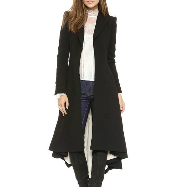 Kış Ceketler 2018 Kadınlar Yün Karışımı Ceket Geniş Yaka Cep Boy Uzun Trençkot Giyim Yün Kadın Kadın Palto