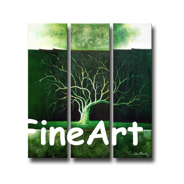 Acheter Bonne Qualité Main Peinture Art Vert Arbre Peinture à L Huile Mur Art Panneau Contemporain Peinture à L Huile Moderne Toile Mur Art Décoration