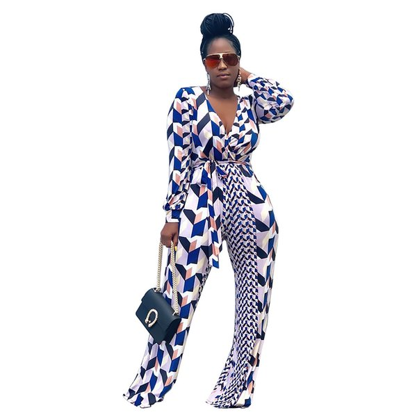 KGFIGU Women long sleeve print overalls 2018 Autumn loose overalls sexy deep V neck wide leg jumpsuits casual oversize outfits