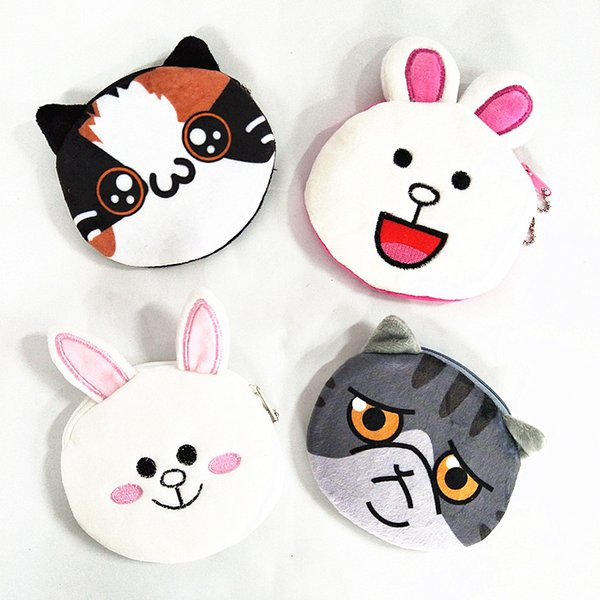 M061 Cute Cartoon Women Purses Plush Coin Purse Smiling Rabbit Wronged Cat Happy Cat Laughing Rabbit Pendant Wallet