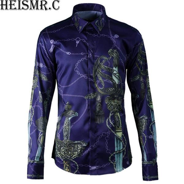 HEISMR.C Nouveau 2018 Mens Marque Shirt Royal Saber Impression Chemise Manches Longues Hommes Chemises Homme Luxueux Tuxedo HJK163