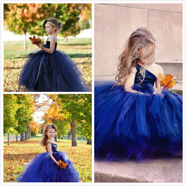 Tulle Flower Girl Dresses For Toddlers One Shoulder Royal Blue A Line Cupcake Pageant Gowns For Wedding Beads Back Lace Up Communion Dress