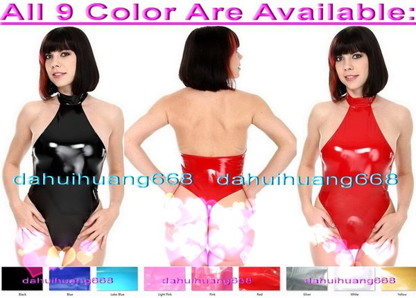 Sexy 9 Color Shiny PVC Short Suit Catsuit Costumes Sexy Women Short PVC Body Suit Costumes Halloween Party Fancy Dress Cosplay Costume DH223