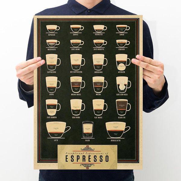 Black Coffee Retro Kraft Paper Poster Bar Café Decorative Painting Vintage Indoors Poster Decor Art Crafts 0 5zx gg