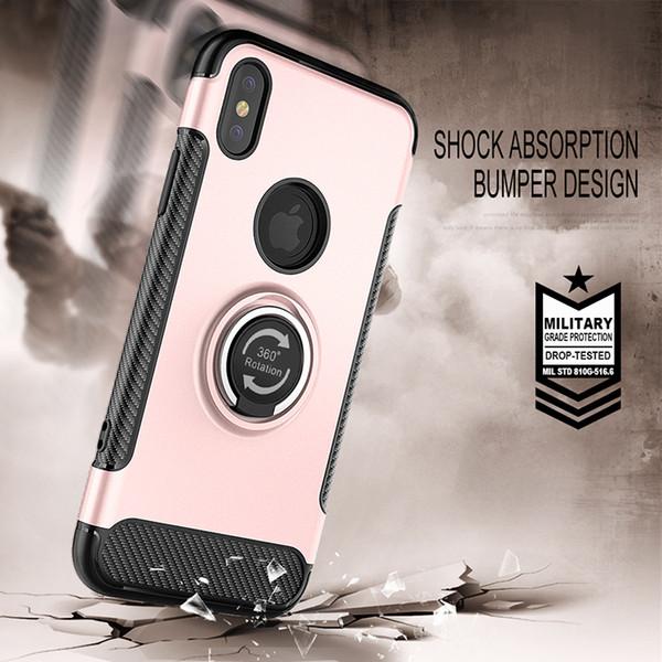 Para iphone x xr max 8/7 6 s / 6 além de montagem do carro magnético, suporte de anel kickstand, dual layer pc e tpu case para samsung nota 8/9 s8 mais s7 edge