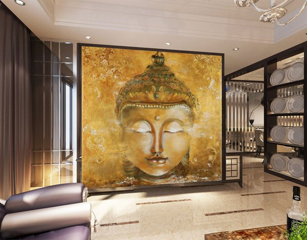 Vintage Buddha Photo Wallpaper 3D Custom Wallpaper Oil Painting Wall Murals  Bedroom Living Room Shop Art Room Decor Home Decoration Religion Love ...
