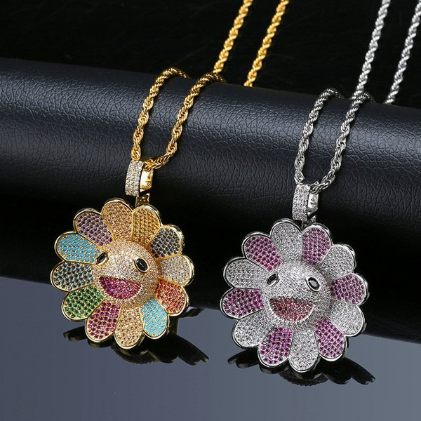 Rotating Japanese Takashi Murakami Hip Hop Sunflower Necklace Pendant Bling Cubic Zirconia Colorful Hiphop Gold Jewelry Ice Out