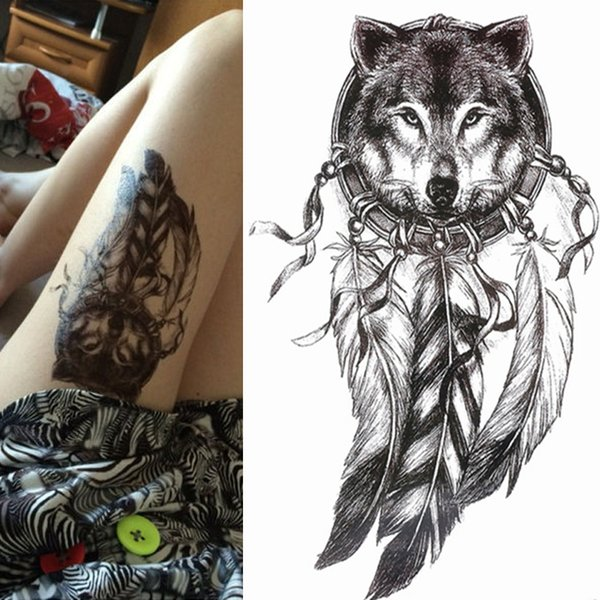 1pc hot sale Black Wolf with Feather Dreamcatcher Cat owl Cool Beauty arm big Tatoo Waterproof Temporary Tattoo Stickers 21*15cm