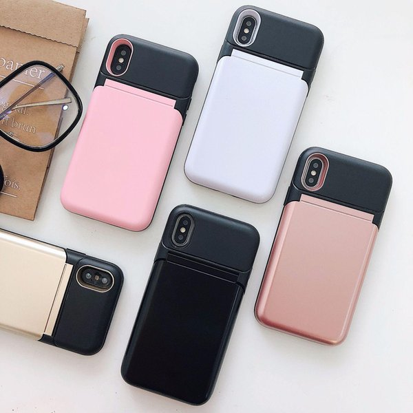 Gift 2018 new arrival cool phone case with Cover up Mirror can put card in Iphone case hot sell cover for samsung