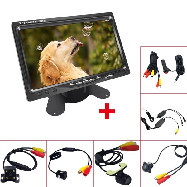"""wholesale CAR DC12V 7"""" LCD Monitor Display With Rear View Parking Camera Video System with 2.4G Wireless & Cigarette Lighter Optional #4331"""