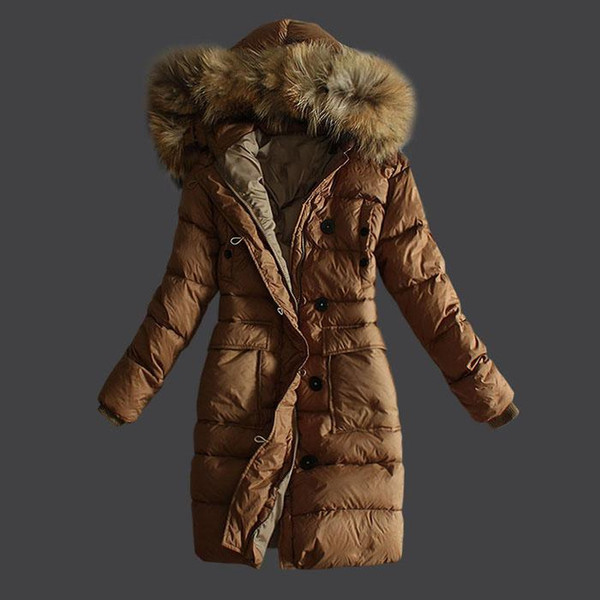 High Quality top quality Name France Women Down Jackets Long With Fur Collar Style Winter Down Parkas Khaki Black Brown Lady Down Coat