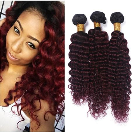 Black and Wine Red Ombre Human Hair Bundles Dark Root Deep Wave Wavy #1B/99J Burgundy Ombre Virgin Indian Human Hair Weave Extensions