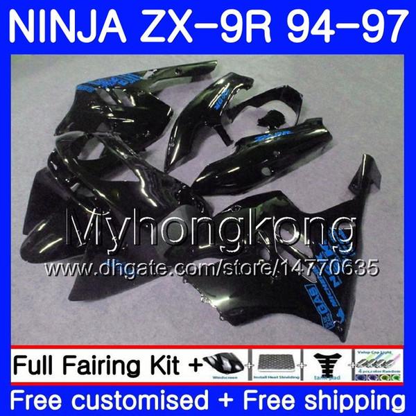 Body Black blue frame For KAWASAKI NINJA ZX900 ZX9R 94 95 96 97 221HM.13 ZX 9R 94 97 ZX 9 R 900 900CC ZX-9R 1994 1995 1996 1997 Fairing kit