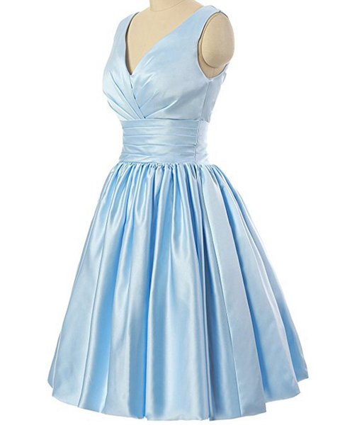 Light Blue Short Prom Dresses 2018 Sexy V Neck Mini Prom Dresses Evening Gowns With Ruched Bodice For Teens Prom