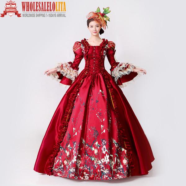 Brand New Red Lace stampato Marie Antoinette Dress Southern Belle periodo vittoriano Ball Gown Rievocazione Abbigliamento donna