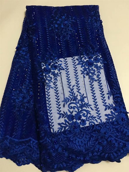 royal blue mesh french cord lace fabric 2018 with beads&stones embroidered tulle lace trim african negerian lace 5yard/lotEL55