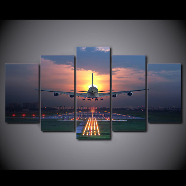 Canvas Wall Art Pictures 5 Pieces Sunset Lights Airplane Lawn Painting HD Print Aircraft Poster Framework Home Decor Living Room
