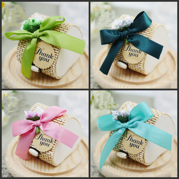 European Style bomboniere bamboo wedding Favors Boxes Gifts Candy Boxes Favor Holders With Ribbon Wedding Party & European Style Bomboniere Bamboo Wedding Favors Boxes Gifts Candy ...