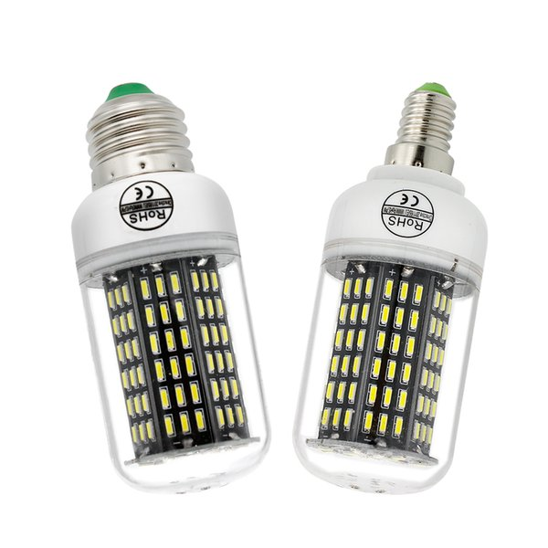 Alta luminosità SMD 4014 No Flicker LED Corn Bulb E27 E14 220 V lampada Spotlight Chandelier Light 38 55 78 88 140LEDs Smart Power IC