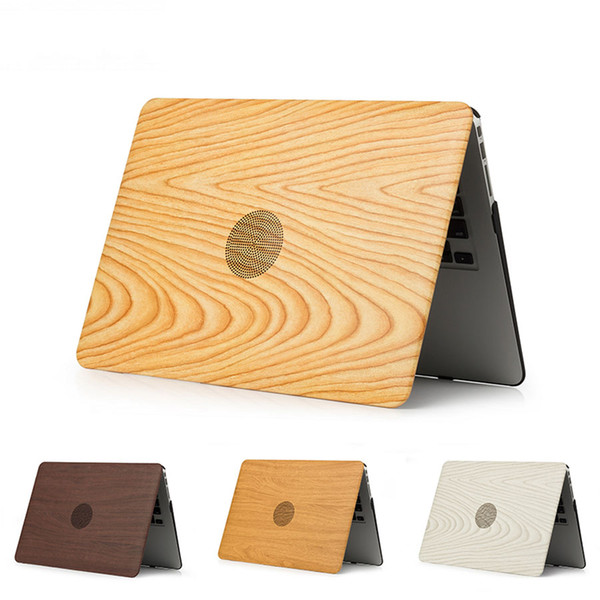 Wood Grain PU Leather Plastic Hard Case For MacBook 12 Air 13 Pro Retina 13.3 15 inch with Touch Bar Laptop Case
