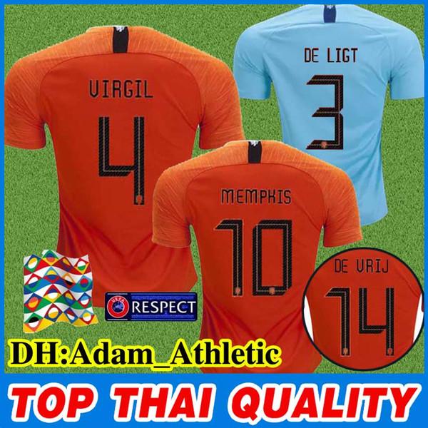 Maglia da nazioni 18 19 Maglia da Paesi Bassi Maglia da calcio Olanda Orange Home Maglia da calcio DE VRIJ VIRGIL Maglia da calcio STROOTMAN MEMPHIS