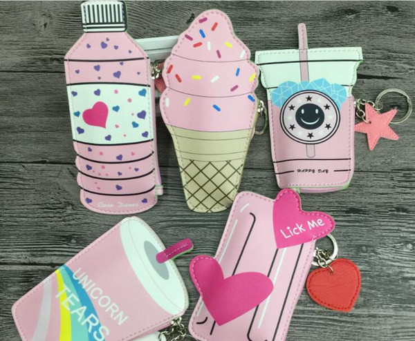 New Fashion Mini Different Drinking Style PU Wallets Holders Party Keychain Zipper Coin Purses Gifts Free Shipping