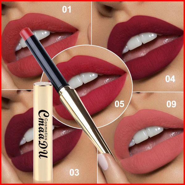 CmaaDu 12 colores Lápiz labial mate Labio a prueba de agua Maquillaje duradero Maquiagem con tubo de forma de bala dorada