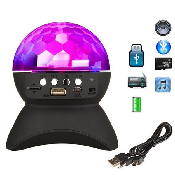 Bluetooth Speaker LED Crystal Magic Ball Stage Light RGB DJ Club Bar Party Lighting Colorful Mini Portable Speakers with USB TF FM Radio
