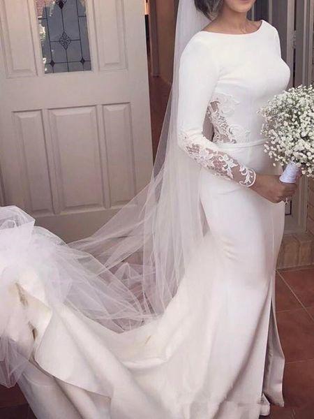 Robe de mariée Vintage sirène à manches longues Dreses 2019 Simple Design dentelle tache bijou cou trompette pays jardin robe de mariée