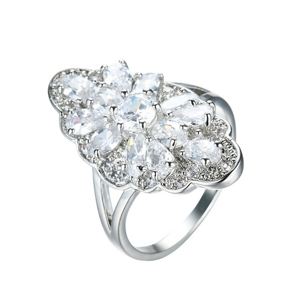 Luxury Female Single Ring 2018 New Fashion White Gold Filled Jewelry Vintage Wedding Rings For Women Birth Stone Gifts