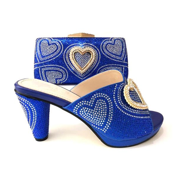 Blue, stylish, cylindrical heels, Italian heart-shaped shoes and matching pouches.For the wedding party.heel 10cm.A-L85D20-1