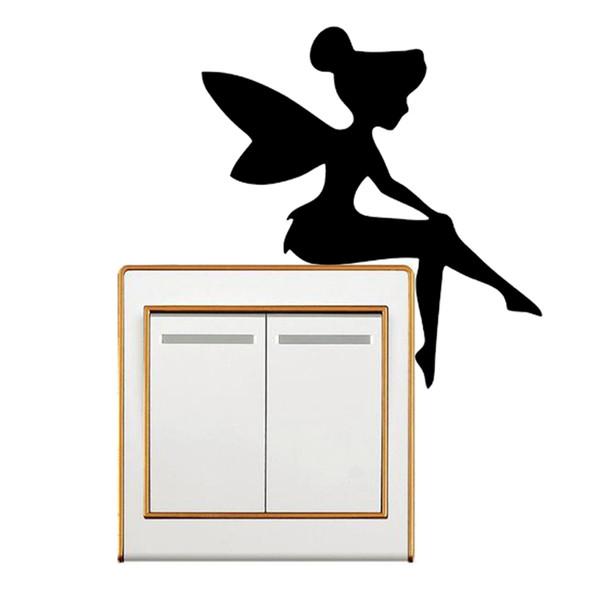 Mary Poppins Silhouette Switch Sticker Girl Decal Nursery Wall Decor Climbing Light Switch Sticker Fairy Sitting