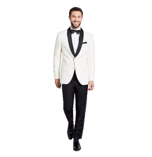 2018 Men Suits White Black Shawl Lapel Custom Made Wedding Suits Bridegroom Groom Tuxedos Blazer Prom Evening Dress Slim Fit Casual Best Man