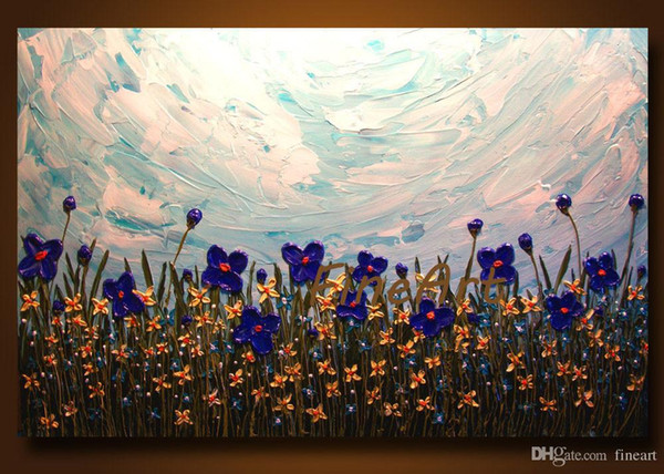 palette knife flower oil painting textured hanging wall art inspirational quotes wall unique gift Kungfu Art