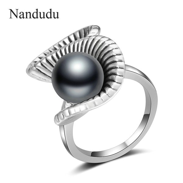 Nandudu Retro Silver Color S Style Ring con perla negra para mujeres Girl Lady Rings Accessories Jewelry Gift R1998