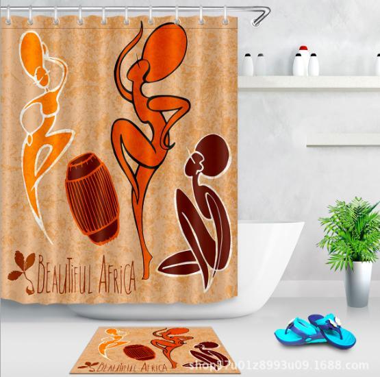 Abstract dance 3D pattern Print Custom Waterproof Bathroom Modern Shower Curtain Polyester Fabric Bathroom Curtain Door mat sets