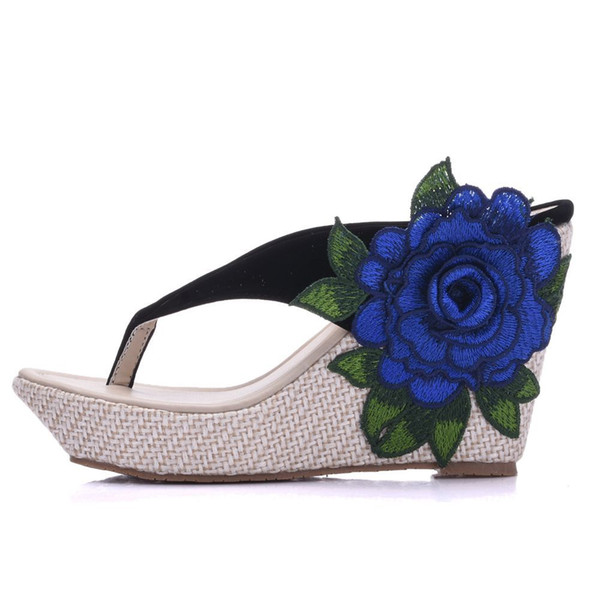 New Bohemia style beach slippers for women appliques wedge heels fashion platform beading wedding shoes flip flops Plus Size Bridal sandals