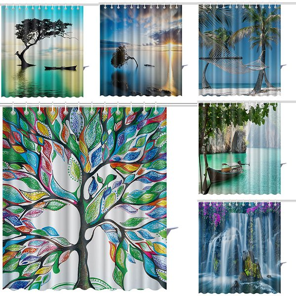 165*180cm tree of Life Shower Curtains Color Tree Waterfall Waterproof Bathroom Shower Curtain Decoration With Hooks Free DHL WX9-135