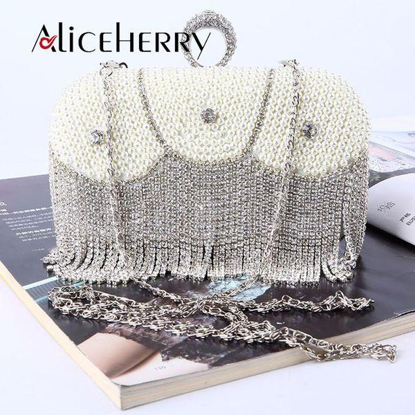 Women messenger beaded women vintage evening bags tassels pearl bag shoulder bags,diamonds clutch box bag for wedding