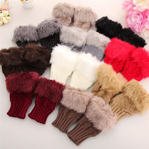 Women Gloves Stylish Ladies New Fashion Hand Crochet Knitted Warmer Winter Gloves Fingerless Rabbit Fur Fluffy Femme 2018