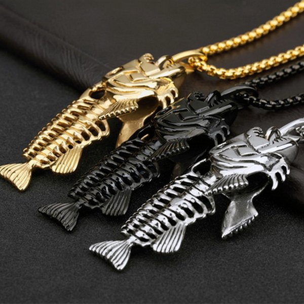 Hot Vintage Fish Bone Pendant Necklace Alloy Steel fishing Hook Necklaces Jewelry Chain For Mens Women Fashion Hip Hop 3 colors Accessories