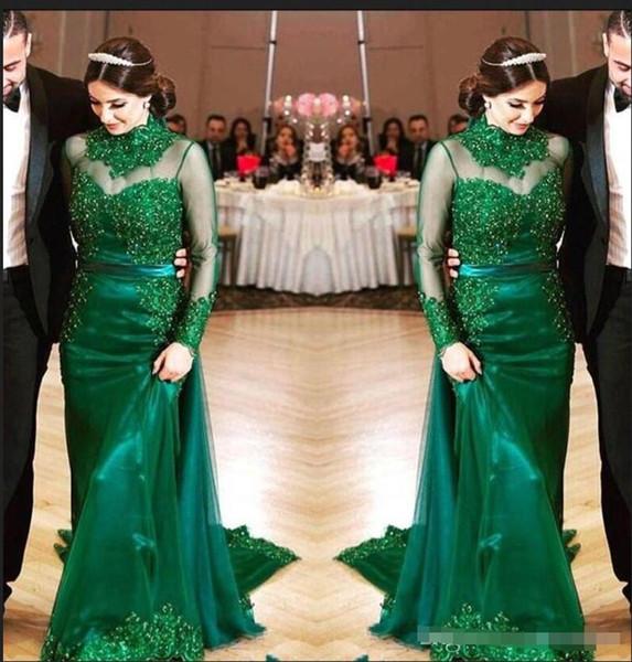 Hunter Green 2018 Abendkleider mit langen Ärmeln Spitze Friesen Mantel Formal Abendkleider Stehkragen Mutter der Braut Kleid