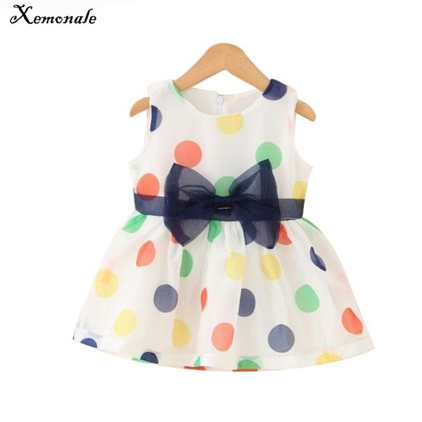 Xemonale 2018 Baby Girl Dress Summer Baby Bow Chiffon Dress Infant Sleeveless Dot Birthday Clothes Months
