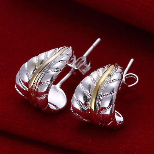 Hot sale Fine 925 Sterling Silver Earring,XMAS Trendy New Style 925 Silver Feather earrings For women Fashion Jewelry Link Italy Lovely E039