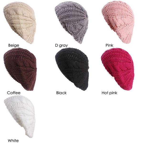 Compre Nueva Mujer Chica Stretch Hemp Knit Tubo Sombrero De Cabeza ...